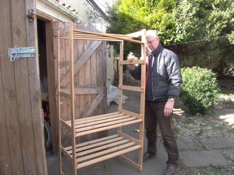 My handy husband just about to demolish some flimsy shelves and turn them into a useful compost space