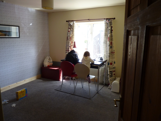 A view of the finished sewing room/grandchildren's bedroom (for sleepovers). The curtains started life as two King size duvet covers from Dunelm at the bargain sale price of £7.00 which I cut down and made two single duvet covers for the bunk-beds and a pair of curtains lined with thermal lining - a great retro style!