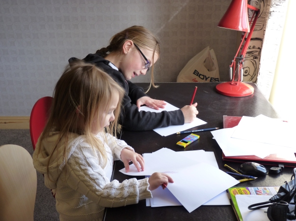 The girls are busy using my new sewing desk - that was not part of the deal girls! More bargains from the Cleethorpes B.ritish Heart Foundation furniture shop; the desk cost £30.00 and Chris has converted the drawers by using the slats from a defunct louvre door downstairs to create sections for my threads, scissors and pins. Brilliant. The Anglepoise model 90 in postbox red was a charity shop find in Bexhill for a fiver, it really sets the tone for this room.