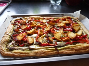 Shallots, sundried tomatoes and mushroom tart - the inspiration came from Heather Parry. Many thanks, Heather.