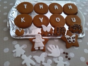 Madeleine's Thank you Gingerbread Cookies (great Waitrose recipe) with decorated letters and shapes. Well done and a very thoughtful way to show your appreciation to Grandad Barry and Nanna Dawn.