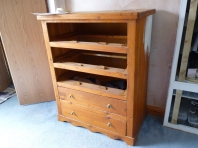 Bargain chest of drawers from the British Red Cross shop now being prepared for a re-vamp.