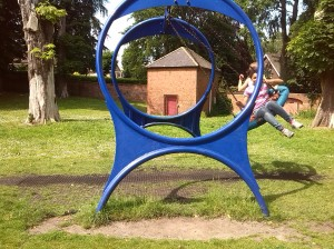Not content with a sleepover, Madeleine invited Johanna for a play-day - both seen here having a swinging time in Baysgarth Park.