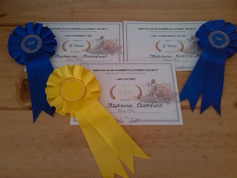 The allotment did much better as I was awarded two second places and a third for my jams and chutney. So thrilled.