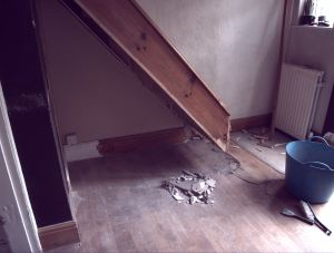 Various stages of the demolition process of the old stairs - very rewarding.