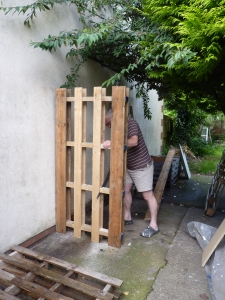 Not a prepossessing start, I confess but it is step 1 in the construction of our wood shed; as well as another use for pallets!