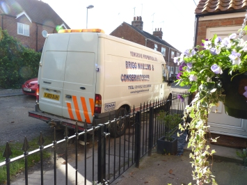 Not only was it challenging doing the brick work (matching the styles and type was tricky) but it was a feat of motoring to park the van in our small road!