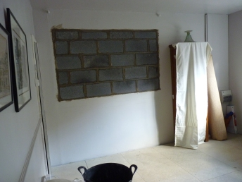 Inside the proposed sitting room the window has been bricked up and finished on the outside. We have made substantial progress this week.