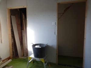 More progress as Chris has now fitted the plasterboard to the internal wall and fitted the light switch.