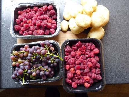 More produce from the allotment. It looks as if I'll have to make more raspberry jam. The grapes are edible but a little on the tart side!