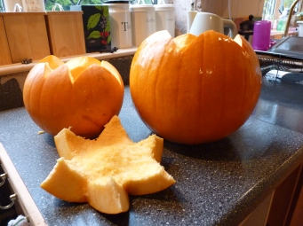 So, Daisy and I set about pumpkin carving - she really enjoyed the 'gloopy' bits! No wielding of knives though - Health and Safety, don't you know.