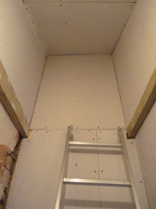 Inside the newly created wardrobe area - the ladder is for those hard to reach items!!