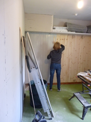 Just to prove that I do actually help - here I am painting the cladding in the Heather Parry Suite  - just noticed that we are decorating the house in fifty shades of grey!