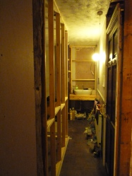 The new hallway into the house bathroom. To the left is the new wall for the en-suite.