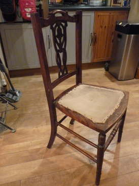 Oh yes - here's another little project I am trying to finish. This will be the dressing table chair in the Heather Parry Suite to go with the upcycled desk (now dressing table). The adrenaline is flowing.