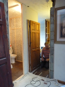 Chris put on a door for the house bathroom - hooray, all modesty preserved, thankfully.