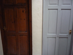 A before and after photo - last night (proper Day 6) I decided to paint the un-aesthetic really dark doors. So now, more grey but it looks much better, I think.