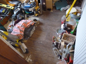 Crikey - look at all the tools. On day 7 (yes I know we're on Day 7 now) he is going to tidy these all away - what a horrible job.