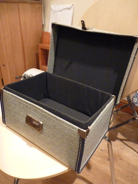 Antique case bought, lined and painted ready to hold Mariery's art work at the Illustration Fair.