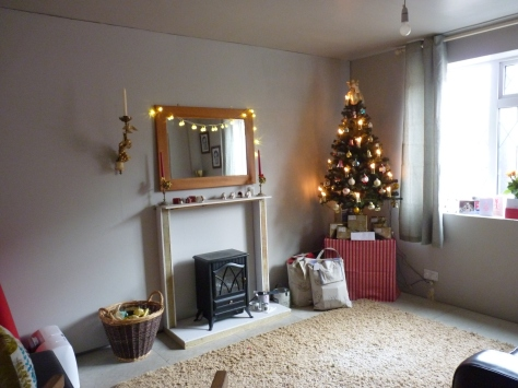Front room decorated and ready to fill with gifts ... Po, Po, Po-sitive thinking!