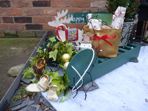 The finished product complete with snowman and reindeer from The Range, a Christmas Tree from Lidl and presents recycled cardboard wrapped by Madeleine - Go, Go,Go!