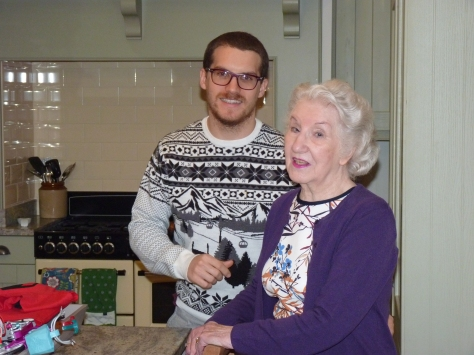 Grandma graces us all with style - and James's jumper isn't too shabby either.